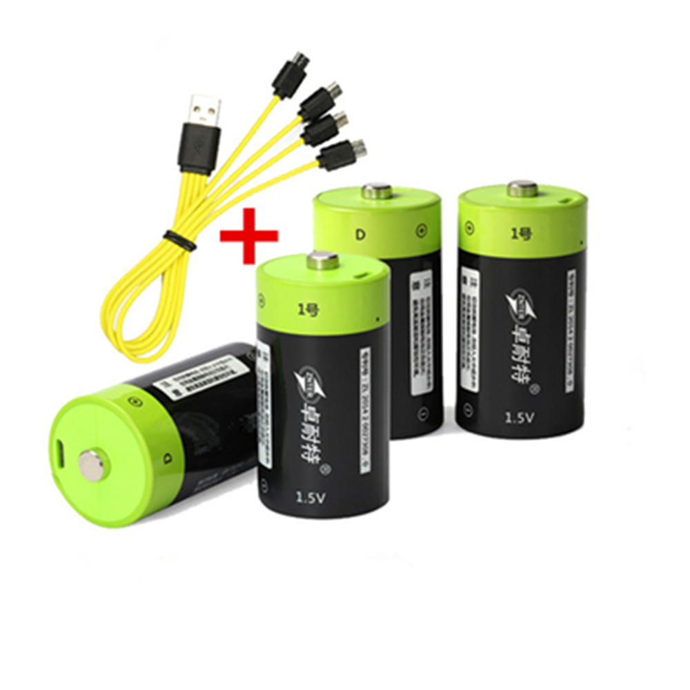 4PCS ZNTER 1.5V 4000mAh Rechargeable Battery Micro USB Battery D Lipo LR20 Lithium Polymer Battery + Micro USB Charging Cable