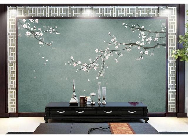 XUE SU papel tapiz personalizado mural nuevo estilo chino pintado a mano pluma de flor de ciruelo e ilustración de aves
