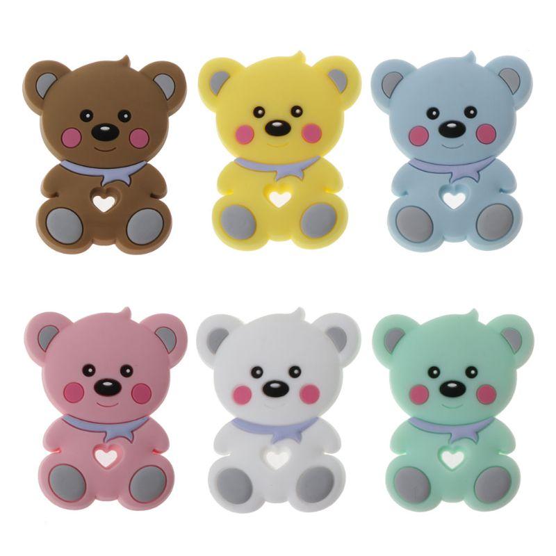 Silikon Beißring Anhänger Bär Baby Beißring BPA FREI Silikon-kautable Zahnen Kauen Spielzeug