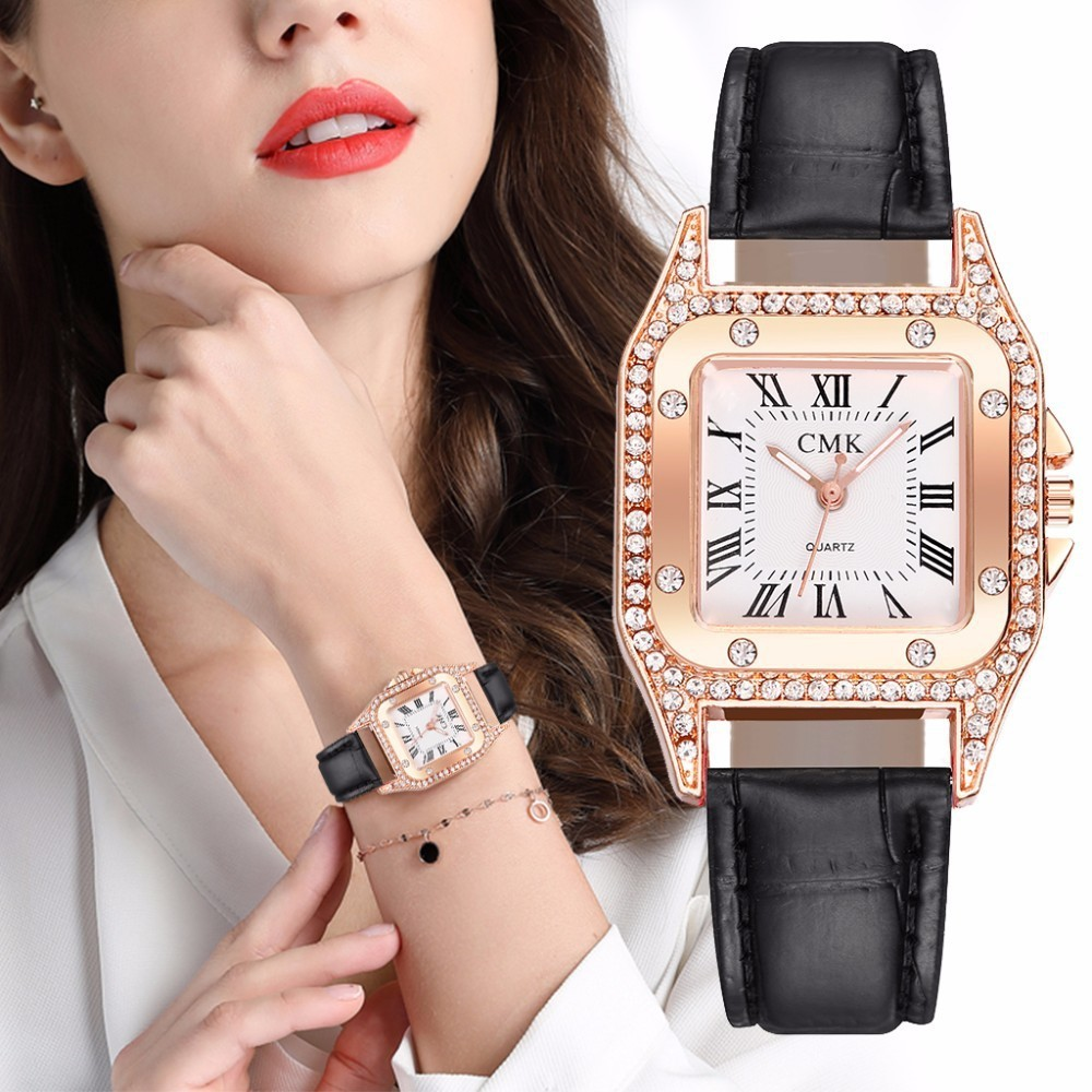 Woman Watch Luxury Square Diamond Watches Women Minimalist Casual Dress Quartz Wristwatch Black Leather Clock Relojes Para Mujer
