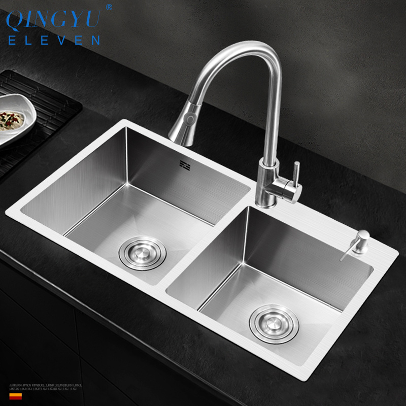 Large Size Double Sink 304 Stainless Steel Thicken Double Bowl Kitchen Sink Above Counter Double Bowl Kitchen Sink