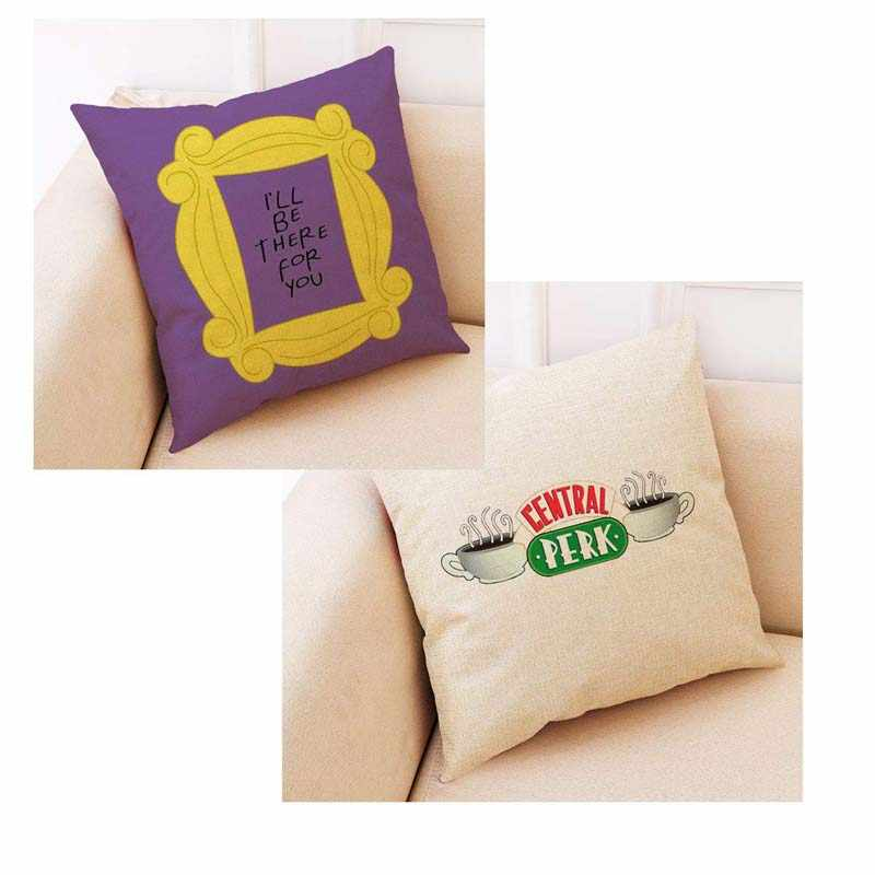 Funny Friends TV Show Pillow Case Friends Central Perk Logo Coffee Linen Cushion Pillow Covers Friends TV Discoloration Cushion