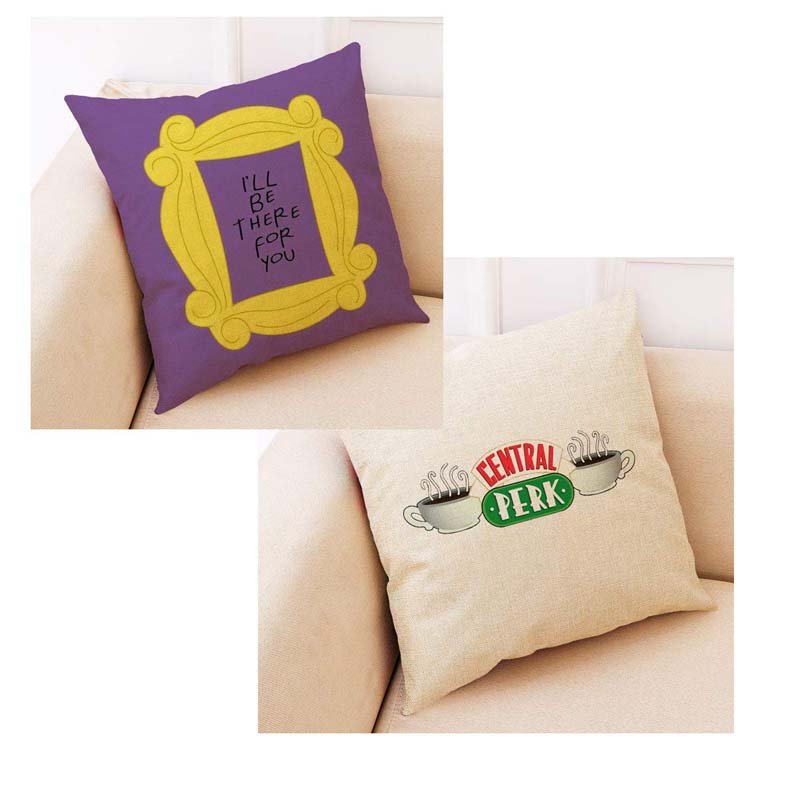 Funny Friends TV Show Pillow Case Friends Central Perk Logo Coffee Linen Cushion Pillow Covers Friends