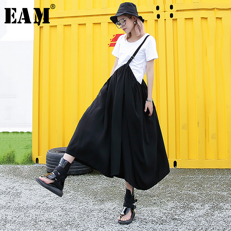 [EAM]  Half-body Skirt Two Pieces Suit New Round Neck Short Sleeve Black Loose Women Fashion Tide Spring Autumn 2020 1T788