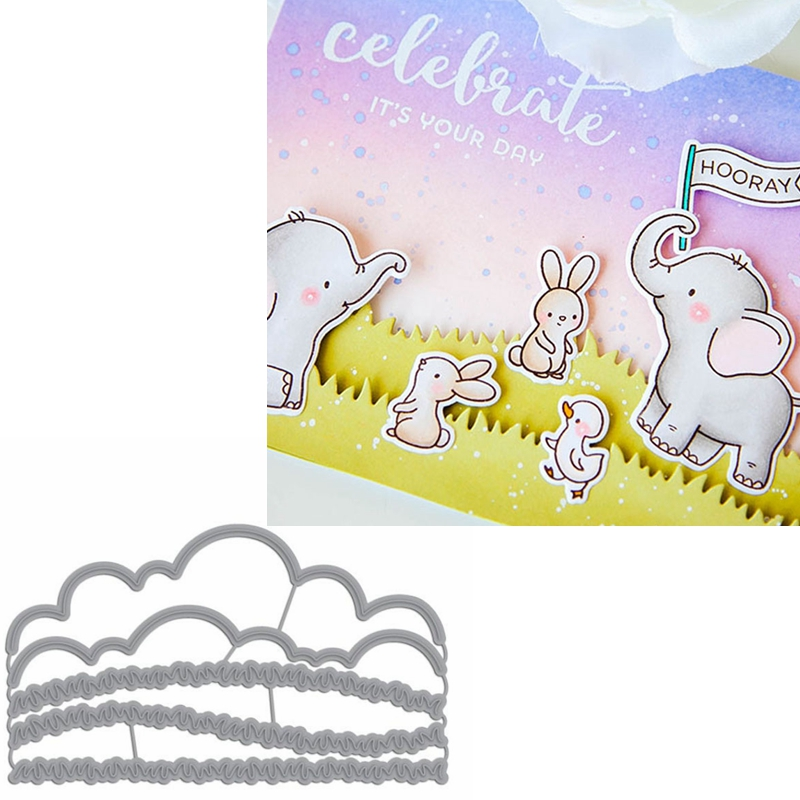 Cloud&Grass Border Metal Cutting Dies Stencils Cloud&Grass Border Die Cut For Card Making DIY New2019 Crafts Cards