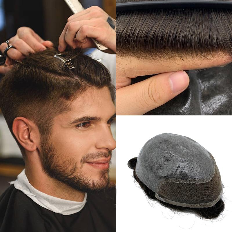 Swiss Lace Men's Toupee Lace Front Men Wig Replacement System Human Hair Durable Hairpieces Toupee For Men Bleached Knots