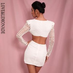 Image 5 - Miłość i lemoniada seksowny biały głęboki dekolt w serek bez pleców krzyż brokat klejony materiał Slim Fit sukienka LM82065
