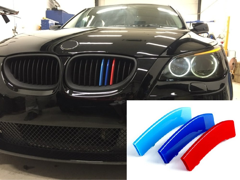 11 cuadr/ículas para 04-10 5 Serie E60 3D Colors M Front Grille Trim Strips Cover Stickers+Rear View Mirror Rain Eyebrow 5 Piezas