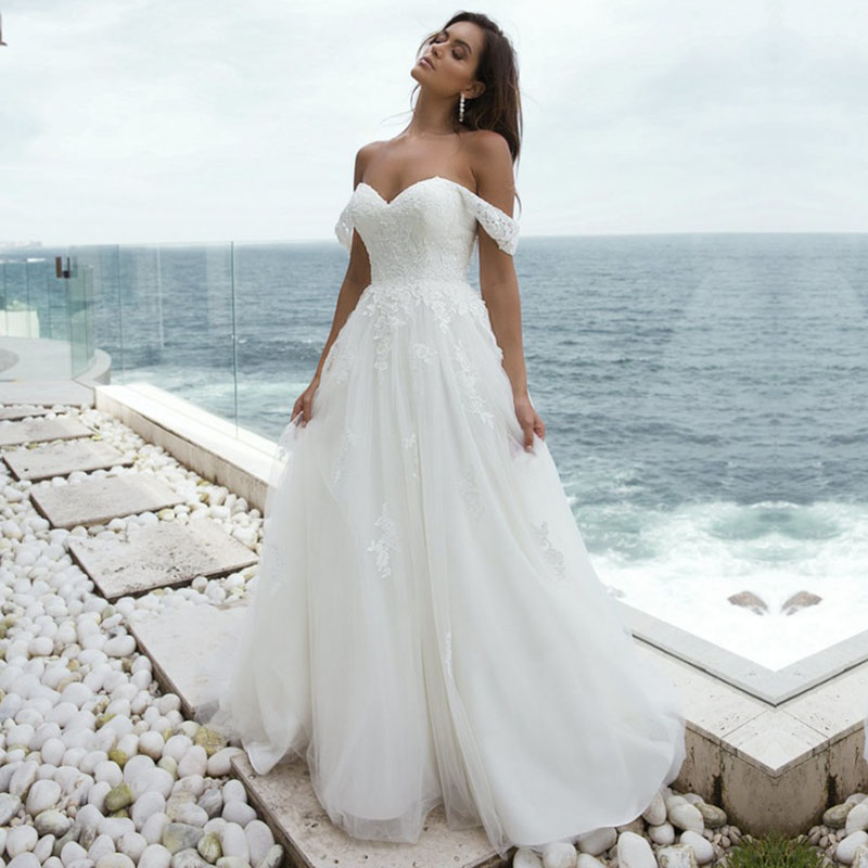 Boho Chic Wedding Dress with Detachable Straps A-Line Off the Shoulder Sweetheart A-Line Beach Wedding Gowns 2020 Bride Dress