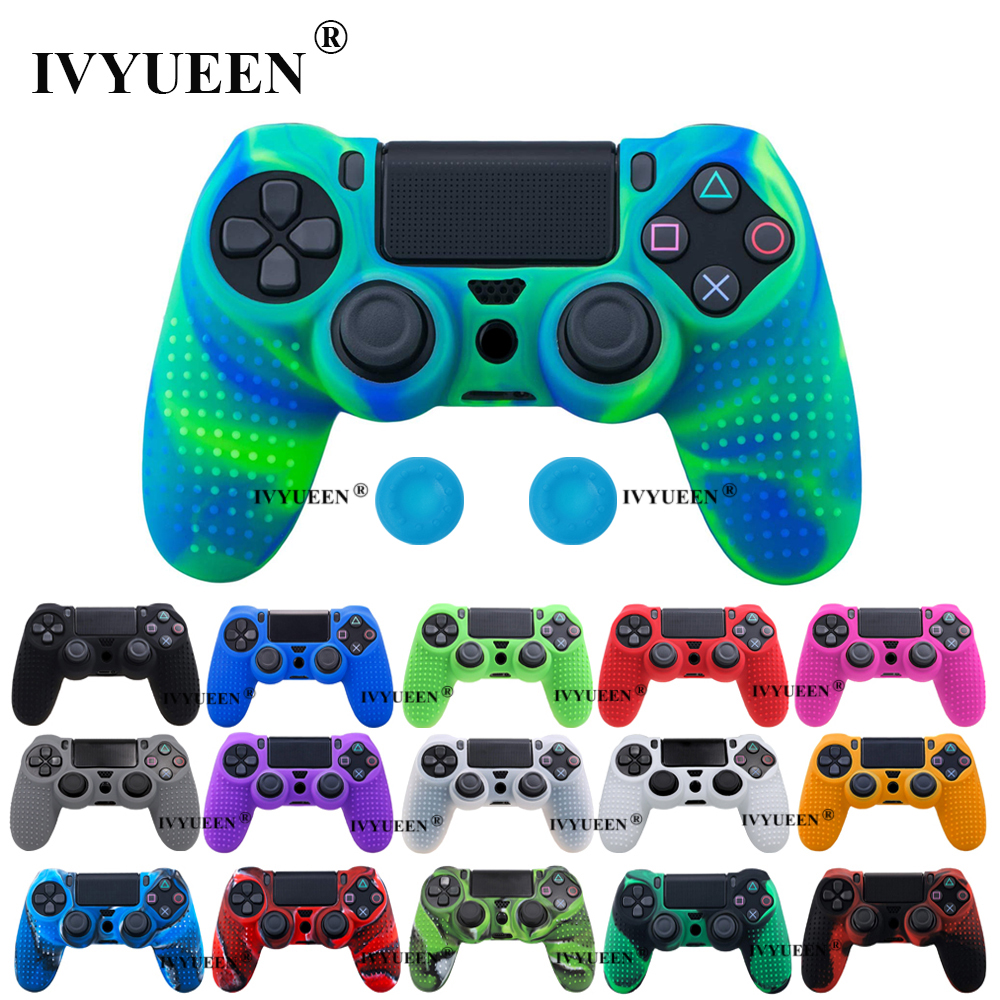 IVYUEEN Anti-slip Silicone Cover Skin For Sony Dualshock 4 PS4 Pro Slim Controller Camo Case & Stick Grip For Play Station 4
