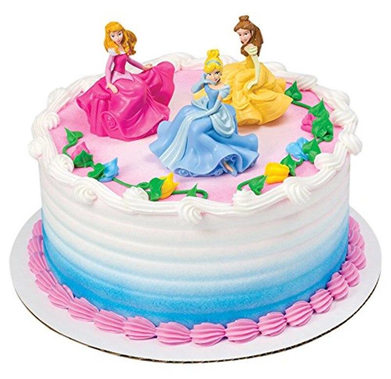 Bella Cenicienta princesa decoración de la fiesta de cumpleaños pastel de cumpleaños figura de acción juguetes Primer Cumpleaños chica Tema de cumpleaños fiesta regalo Juego de cinco piezas redondas para hornear, molde para pasteles y galletas, combinación de acero inoxidable para hornear, herramientas de decoración de pasteles Diy