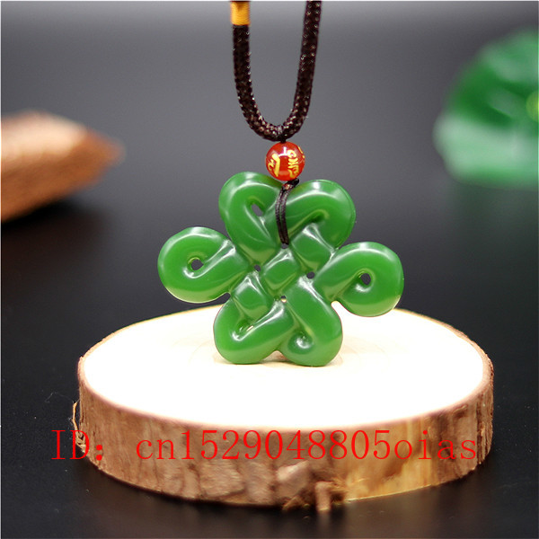 Natural Green White Jade Chinese Knot Pendant Necklace Fashion Charm Jewelry Double-sided Hollow Carved Amulet Gifts For Her