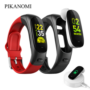 Bluetooth Smart Band With Headset Heart Rate Blood Pressure Monitor Fitness Tracker 2 In 1 Call Phone Music Sport Wrist Bracelet
