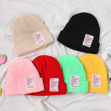 Unisex Candy Color Knitted Beanie Hat Winter Warm Letter Thicken Beanie Caps For Men And Women Ear Warm Hat Girls Autumn Hats цена 2017
