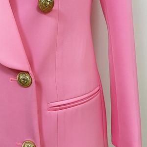 Image 5 - Alta qualidade mais novo 2020 designer elegante blazer feminino metal leão botões xale colarinho longo blazer jaqueta