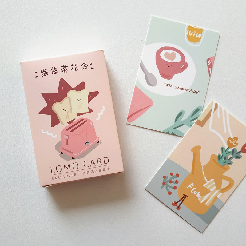 28 Pcs/Set Creative Tea Party Series Lomo Card DIY Cartoon Mini Postcard Birthday Gift Card Message Card 52*80mm
