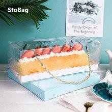 StoBag 10 sztuk tort czekoladowy pudełeczko przenośny szwajcarski rolki przezroczyste pudełko ręcznik ciasto do pakowania wypieków Party urodziny