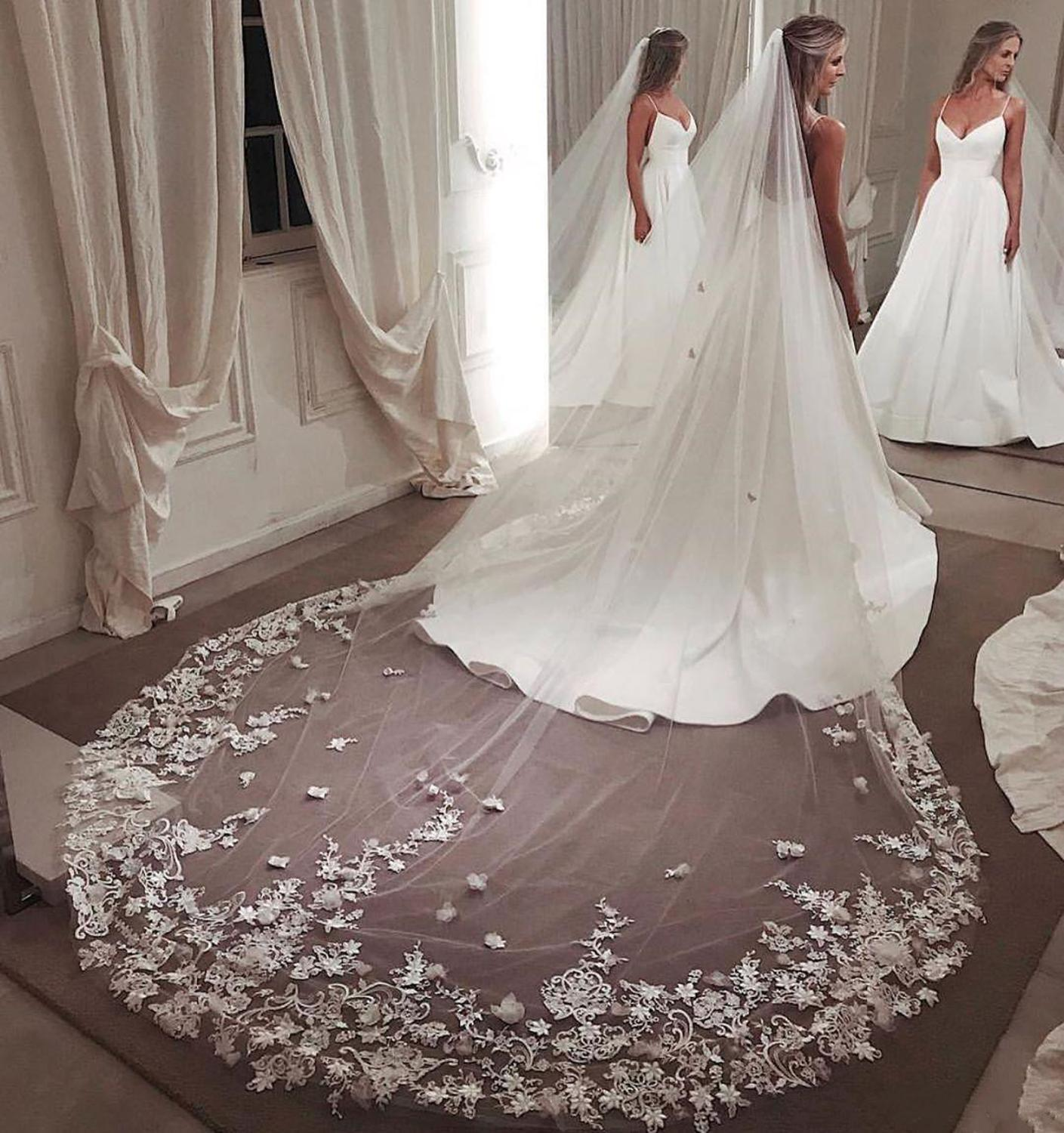 Wedding Cathedral Veil Lace Edge Floral Bride/'s Stylish Veils One-layer Clothing