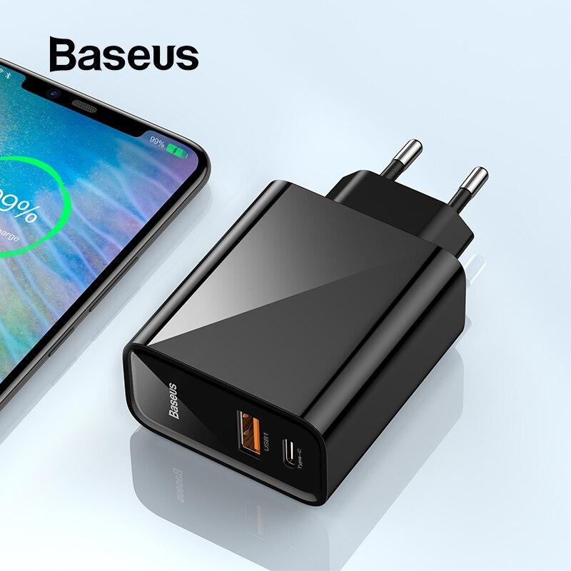 Cargador USB Baseus de carga rápida 4,0 3,0 30W QC 4,0 3,0 cargador USB PD cargador rápido de teléfono para iPhone 11 Pro XR Xiaomi mi9 Huawei