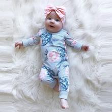 цена Newborn Baby Kids Girl Cotton Floral Romper Jumpsuit Bow Hair Band Clothes Sets Fashion Baby Girls Children Boutique Outfits