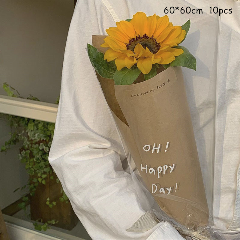 10pcs Transparent Thickened Flower Wrapping Paper  Korean High-grade Plastic Rose Bouquet Waterproof Printing Cellophane
