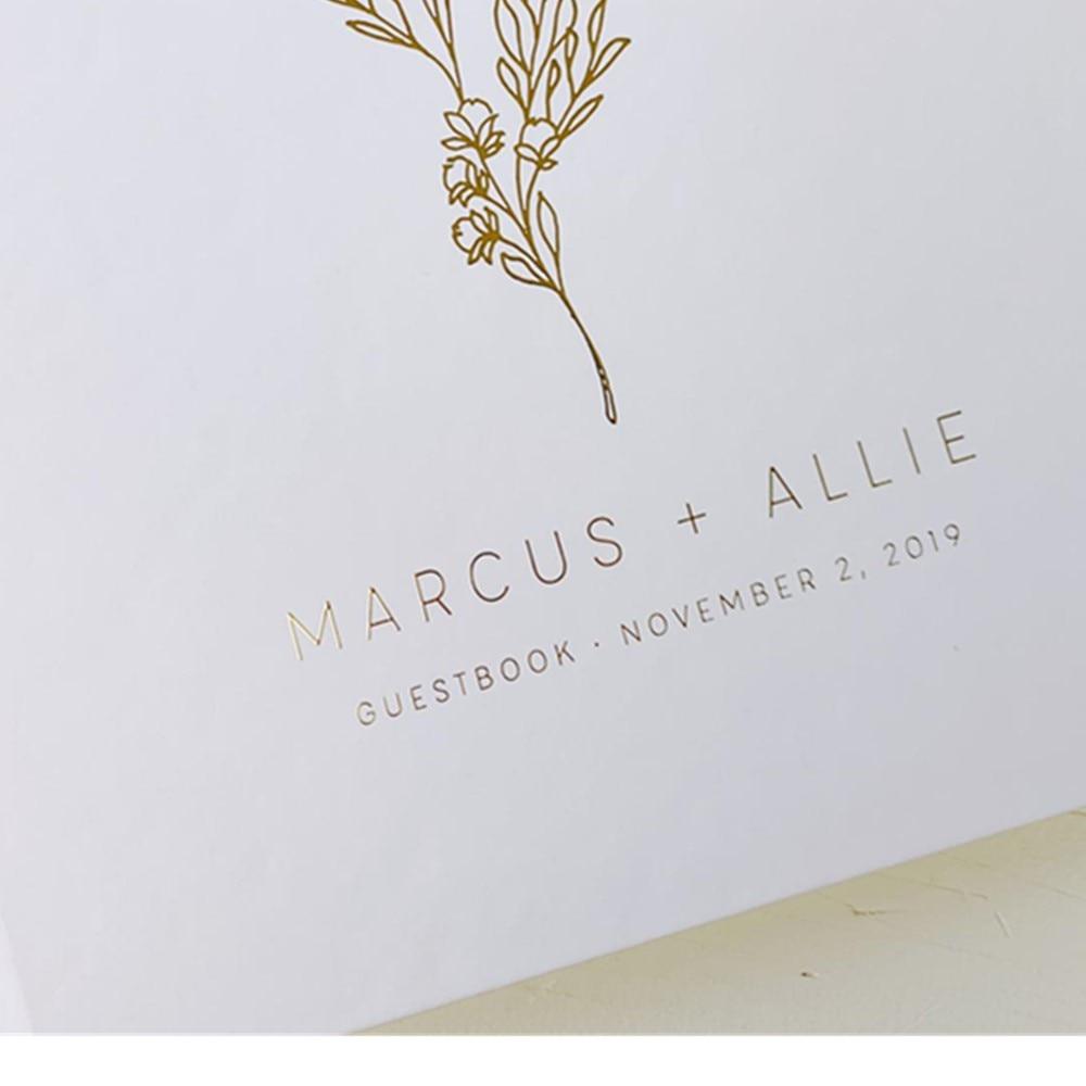 Guest Book Custom Wedding Guestbook Gold Rose Gold Silver Foil Guestbook Landscape Wedding Guestbook Rose Gold Wedding Guestbook