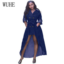 WUHE Sexy Casual Denim Dress Autumn Outfits for Women Long Sleeve Double-breasted Button Loose Bodycon Ladies Dresses with Belt стоимость