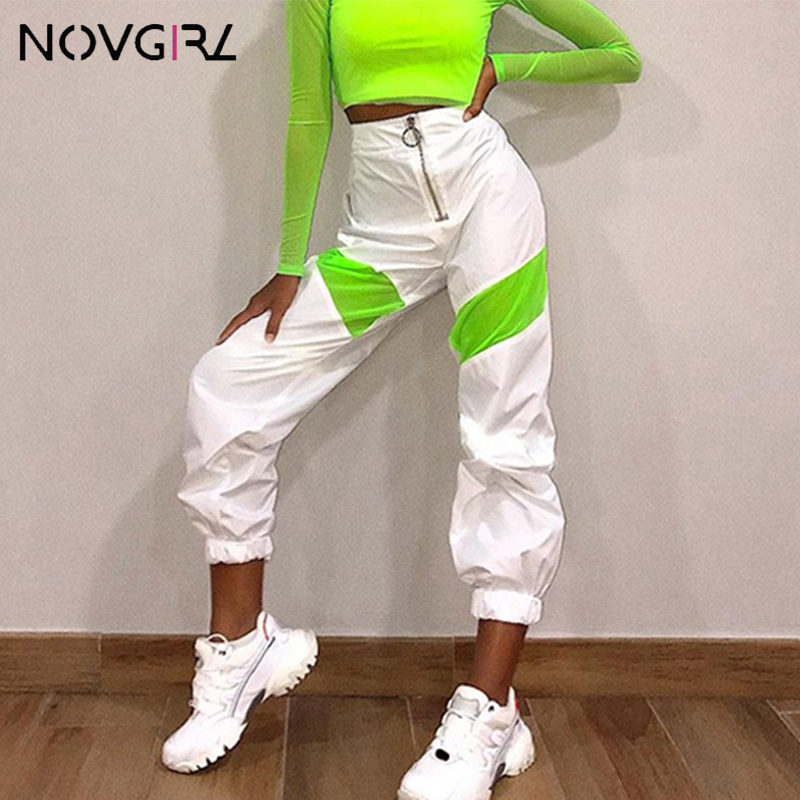 Novgirl High Waist Zipper Cargo Pants Women 2019 Fashion Neon Green Patchwork Joggers Baggy Trousers Girls Streetwear Loose Pant