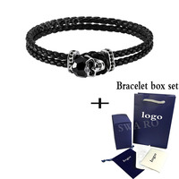 SWA RO 2019 New Taddeo Black Skull Handmade Rope Crystal Decoration Unique And Handsome Male Bracelet Fashion Trend Jewelry