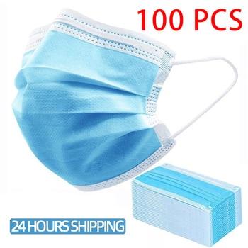100/50 PCS Disposable Medical Masks Surgical Mask 3 Layers Mouth Mask Anti Dust Earloop Waterproof Masks Facial Protective