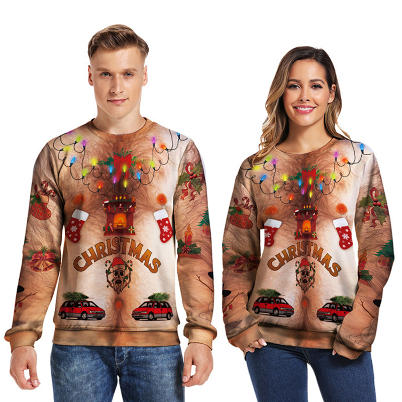 2019 Ugly Christmas Sweater 3D Printed Autumn Winter Loose Sweater Unisex Men Women Spoof Funny Pullover Sweater