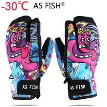 Professional Snowboard Ski Gloves men women 3 Finger Mittens Winter  30 Skiing snowmobile windstopper snow Handschoemen monster