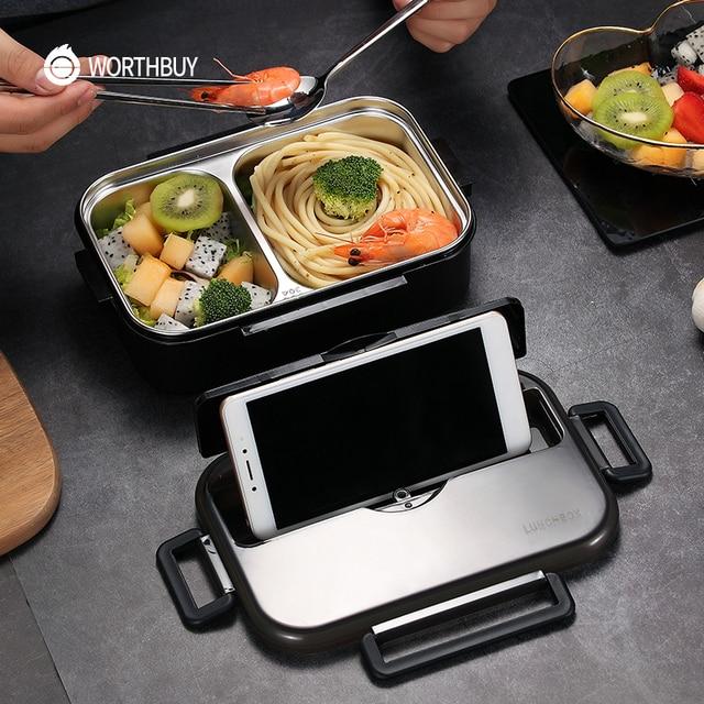 Worthbuy日本子供ランチボックス304ステンレス鋼弁当ランチボックスコンパートメント食器電子レンジ食品容器ボックス