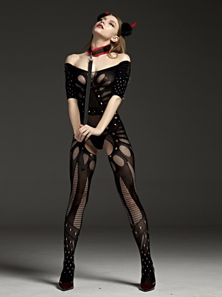 Kimono Nightwear Sleepwear Bodystockings Teddies Crotchless Sex Hot-Sexy Black Fashion