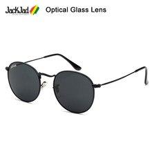 Jackjad 2021 elegante 3447 estilo redondo metal lente de vidro óptica óculos de sol vintage clássico design da marca óculos de sol oculos