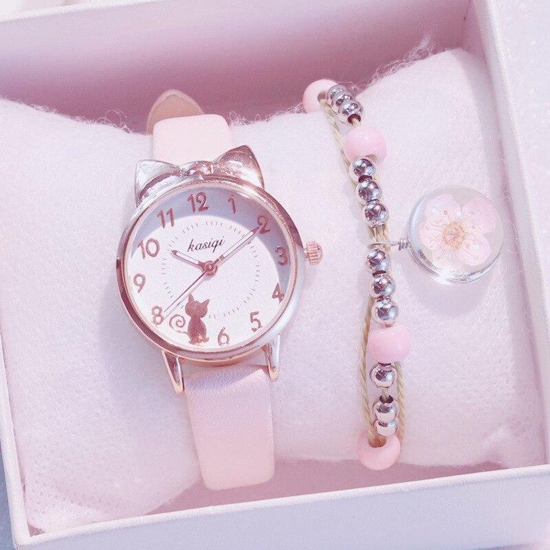 Neue Mädchen Quarzuhr Student Kinder Armbanduhr Katze Ohren Gesicht Geschenke für Kinder Mädchen ulzzang Mit Box Uhr