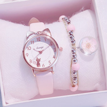 New Girl Quartz Watch Student Children Wristwatch Cat Ears Face Gifts for Kids Girl ulzzang With Box Clock