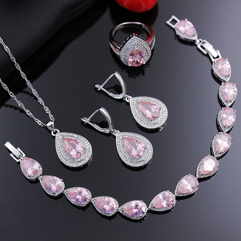 GZJY Women Heart Shape CZ Wedding Bridal Blue Pink Jewelry Sets 925 Sterling Silver Ring Earrings Necklace Pendant Bracelet Sets(China)