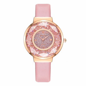 Image 5 - YOLAKO 女性革移動ダイヤモンドの腕時計高級レディースクォーツ腕時計時計リロイ Mujer レロジオ Feminino