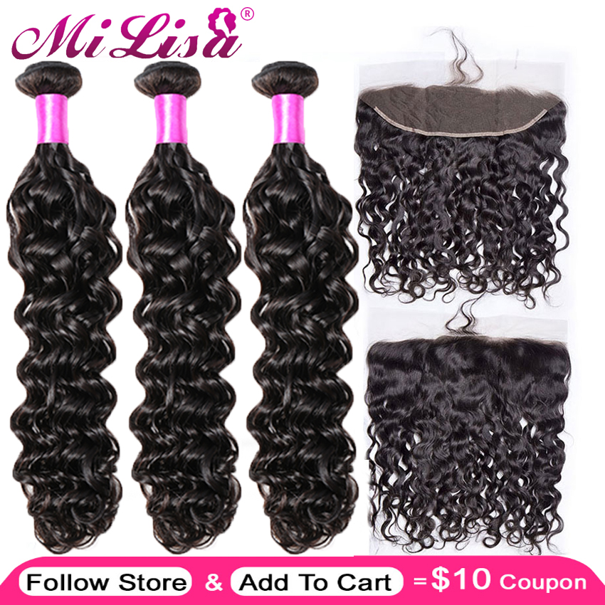 Brazilian Water Wave 3 Bundles With Lace Frontal Closure Mi Lisa Remy 100% Human Hair Weave 13x 4 Lace Frontal With Bundles Deal