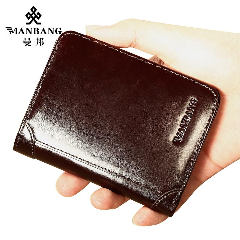 ManBang Male Genuine Leather Wallets Men Wallet Credit Business Card Holders Vintage Brown Leather Wallet Purses High Quality 1