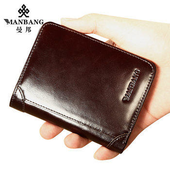ManBang Male Genuine Leather Wallets Men Wallet Credit Business Card Holders Vintage Brown Leather Wallet Purses High Quality