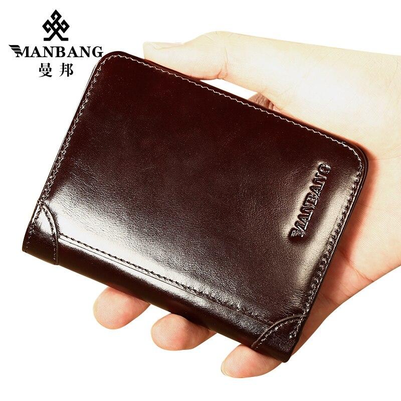 ManBang prawdziwa skóra dla mężczyzn portfele portfel męski wizytowniki kredytowe Vintage brązowy portfel skórzany torebki wysokiej jakości