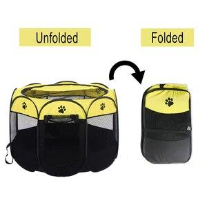 Image 4 - Taşınabilir Pet oyun kalem taşınabilir katlanır Pet köpek çadırı köpek evi sekizgen kafes kedi çadır oyun parkı köpek kulübesi kolay kullanım