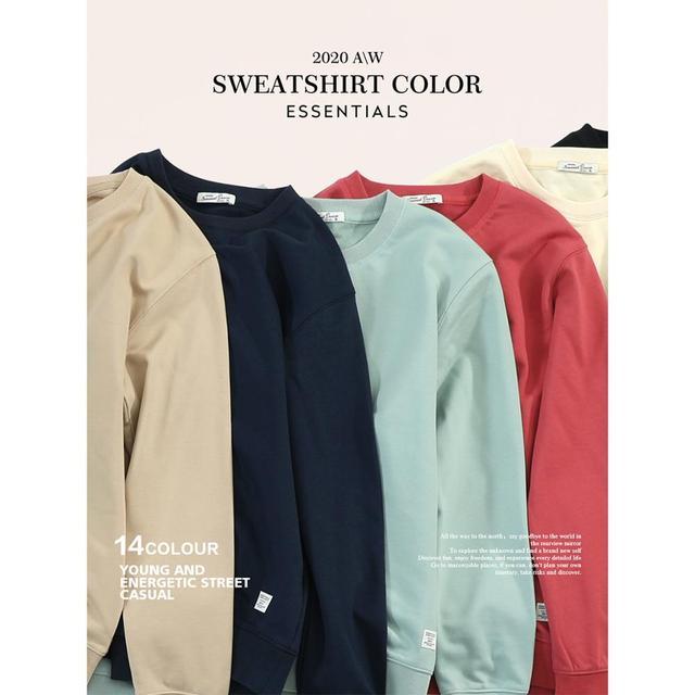 SIMWOOD 2021 Autumn New Hoodies Men Casual Minimalist Sweatshirt O-Neck Embroidery Logo Plus Size Basic Pullover  SI980547 1