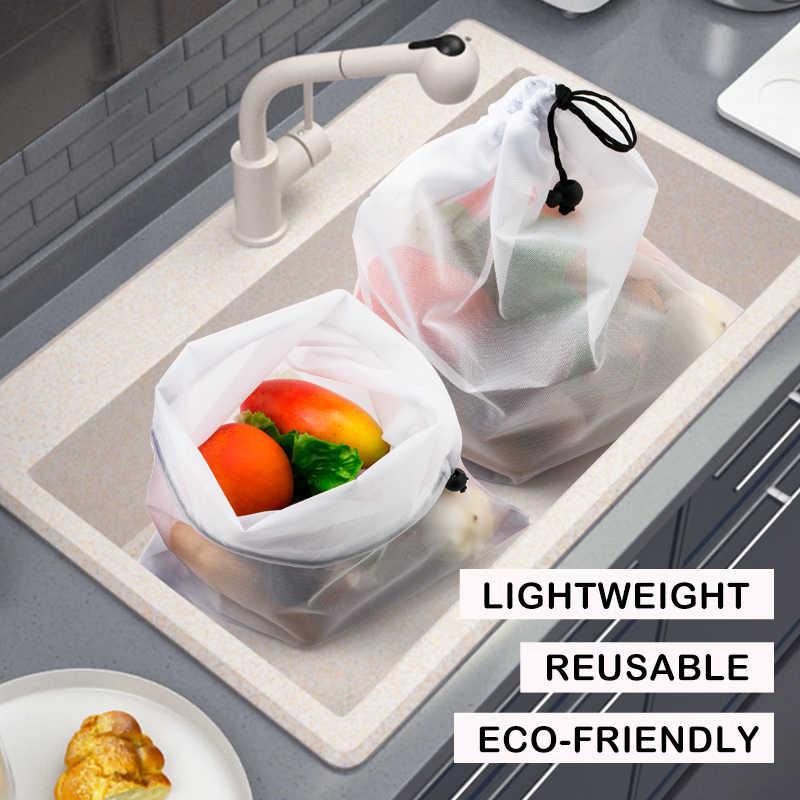 3 stücke Wiederverwendbare Gemüse Obst Taschen Eco Friendly Shopping Spielzeug Mesh Produzieren Taschen Küche Lagerung Mesh Taschen ZXH