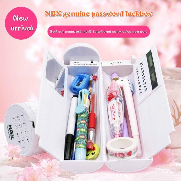 caixa de lapis multifuncional grande capacidade lapis casos caneta caixa com espelho calculadora para meninos meninas