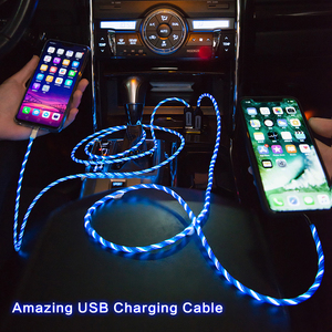 Image 5 - Power4 Cool Glowing USB C Micro Charging Cable Three Connectors Available for Lightning/Apple Android Type C Mobile Phone Charge