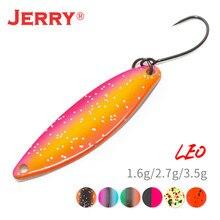 Jerry leo micro estreito latão metal colher 1.6g 2.7g 3.5g uv cores brilhantes poleiro truta área único gancho isca de pesca
