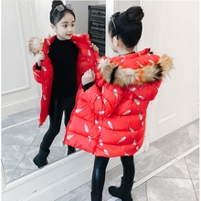 Children's Jacket for Girls Winter Baby Kids Warm Long Coat Fall Toddler Fur Hooded Red Christmas Costume Outerwear Cold Clothes brand baby infant girls fur winter warm coat 2018 cloak jacket thick warm clothes baby girl cute hooded long sleeve coats jacket